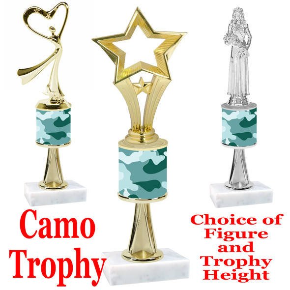"""Camo Trophy  with choice of figure and trophy height.  Trophy heights starts at 10"""" tall  - stem 003"""