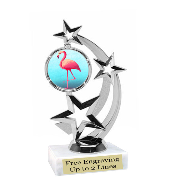 """Flamingo theme trophy with choice of art work.  6"""" tall  (663-silver"""