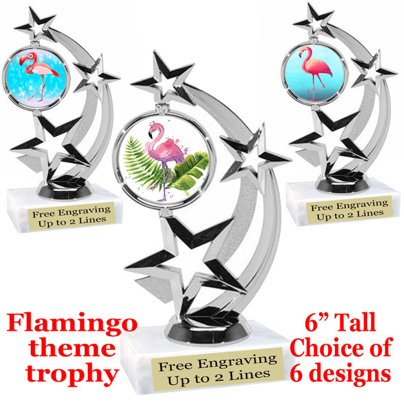"Flamingo theme trophy with choice of art work.  6"" tall  (663-silver"