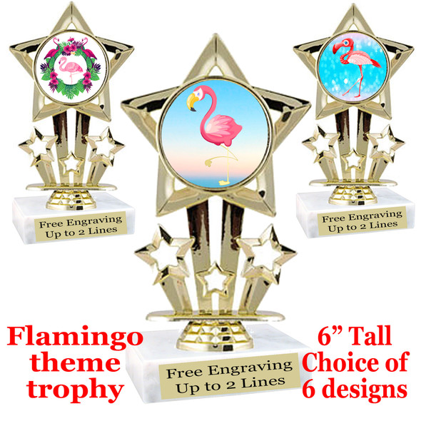 "Flamingo theme trophy with choice of art work.  6"" tall  (767"