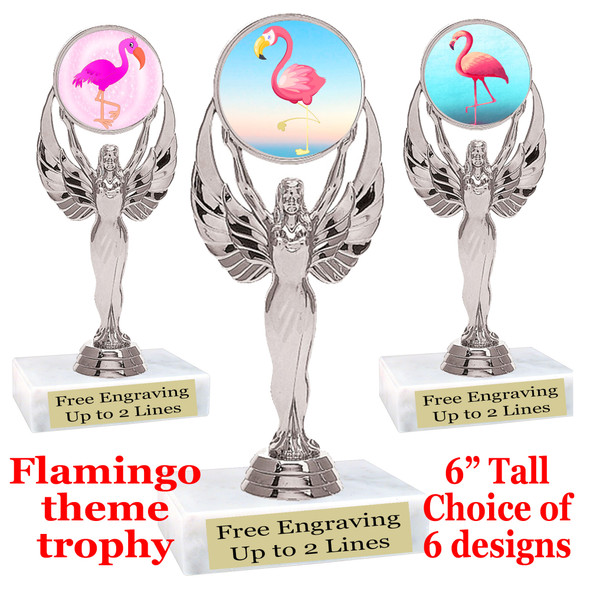 "Flamingo theme trophy with choice of art work.  6"" tall  (6010silver"