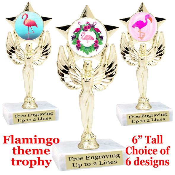 "Flamingo theme trophy with choice of art work.  6"" tall  (7517"