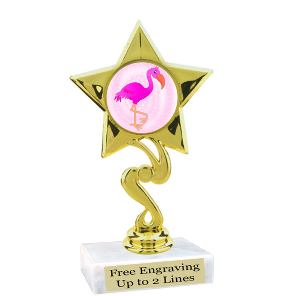 """Flamingo theme trophy with choice of art work.  6"""" tall  (80106"""