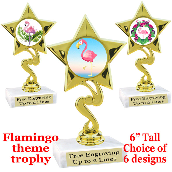 "Flamingo theme trophy with choice of art work.  6"" tall  (80106"