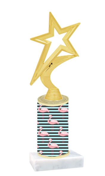Flamingo  trophy with choice of trophy height and figure (005