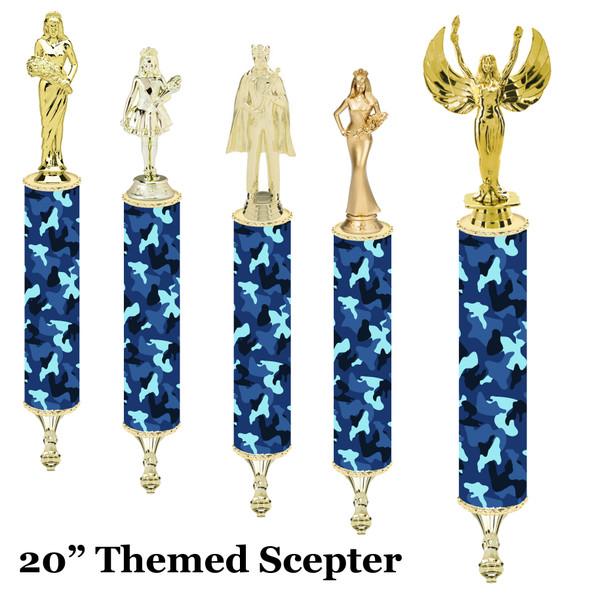 """Camo Scepter!  20"""" tall with choice of figure.   (001"""