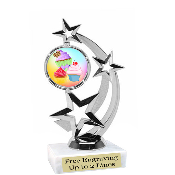 "Cupcake themed trophy.  6"" tall with choice of cupcake artwork.  Includes free engraved trophy plate   (663-s"