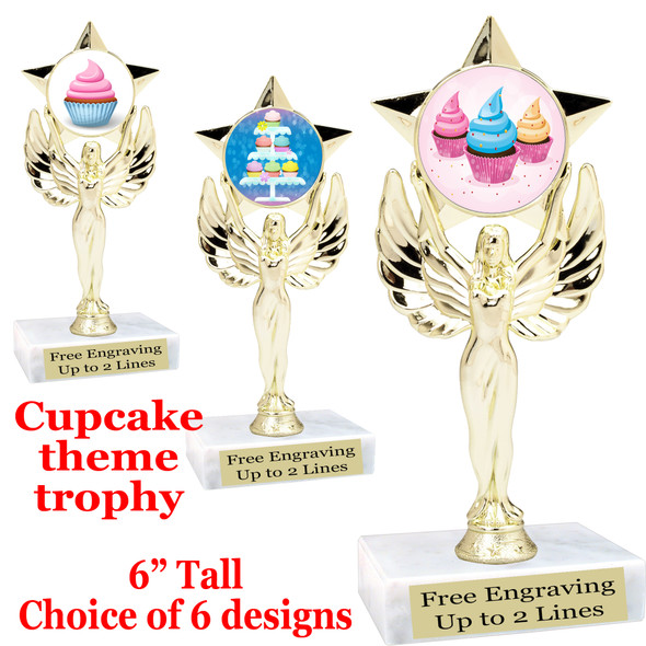"Cupcake themed trophy.  6"" tall with choice of cupcake artwork.  Includes free engraved trophy plate   (7517"