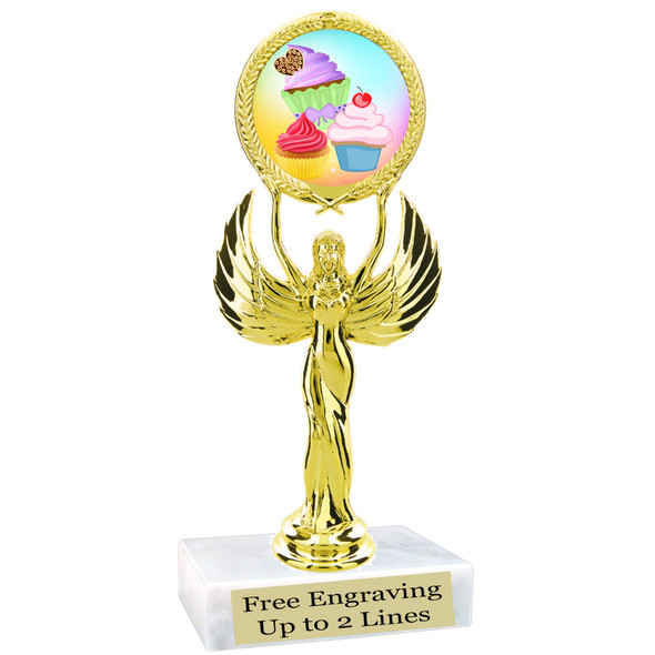 "Cupcake themed trophy.  6"" tall with choice of cupcake artwork.  Includes free engraved trophy plate   (80087"