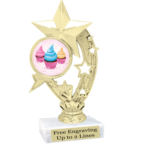 "Cupcake themed trophy.  6"" tall with choice of cupcake artwork.  Includes free engraved trophy plate   (h208"