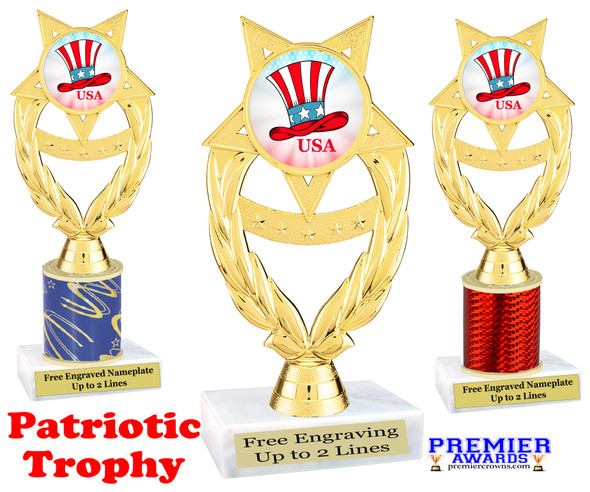 Patriotic theme trophy. Great trophy for all of your patriotic themed events!  (ph97