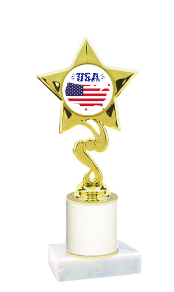 Patriotic theme trophy with glitter column.  Choice of artwork, glitter color and trophy height - 80106