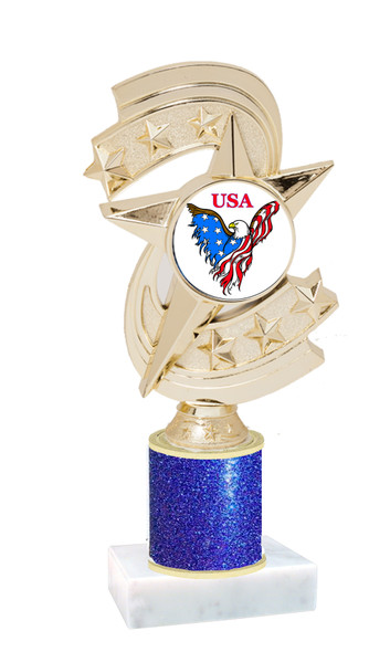 Patriotic theme trophy with glitter column.  Choice of artwork, glitter color and trophy height - h300