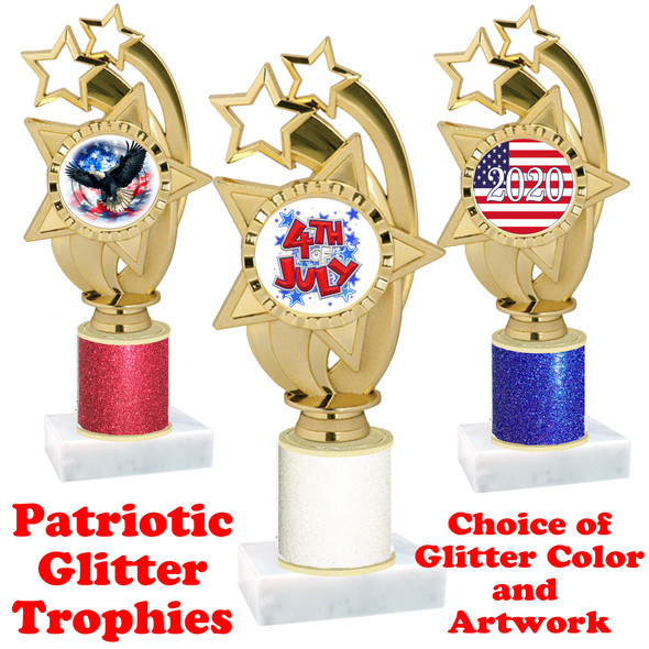 Patriotic theme trophy with glitter column.  Choice of artwork, glitter color and trophy height - ph55