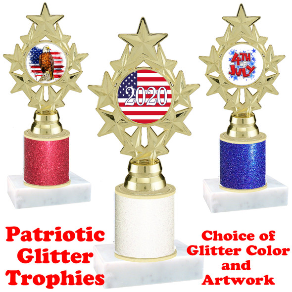 Patriotic theme trophy with glitter column.  Choice of artwork, glitter color and trophy height - ph75