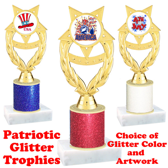 Patriotic theme trophy with glitter column.  Choice of artwork, glitter color and trophy height - ph97
