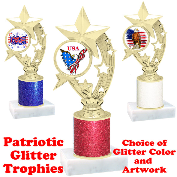 Patriotic theme trophy with glitter column.  Choice of artwork, glitter color and trophy height - h208