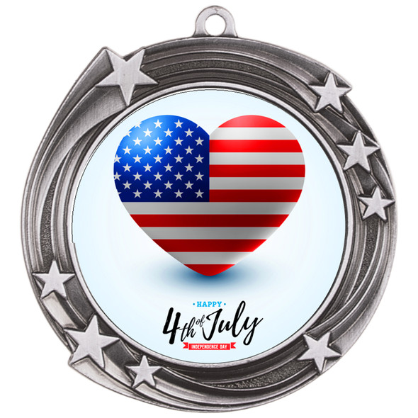 """Patriotic Medal with choice of artwork. Antique Silver  2 3/4"""" medal includes free neck ribbon"""