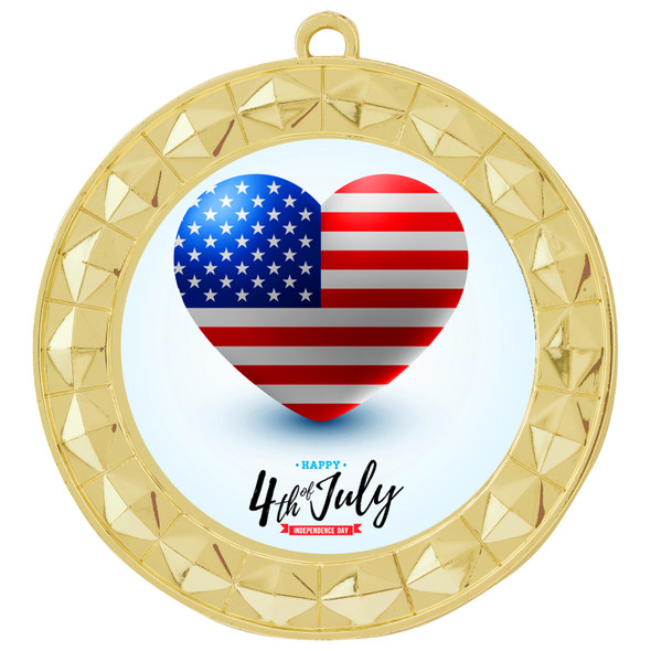 """Patriotic Medal with choice of artwork. Gold  2 3/4"""" medal includes free neck ribbon - 935G"""