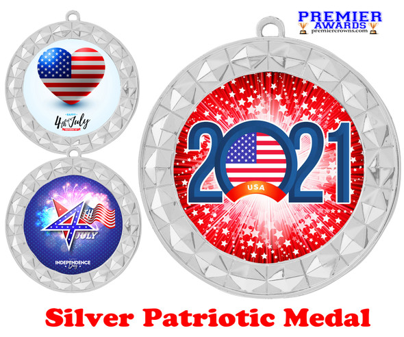 """Patriotic Medal with choice of artwork. Silver  2 3/4"""" medal includes free neck ribbon - 935S"""