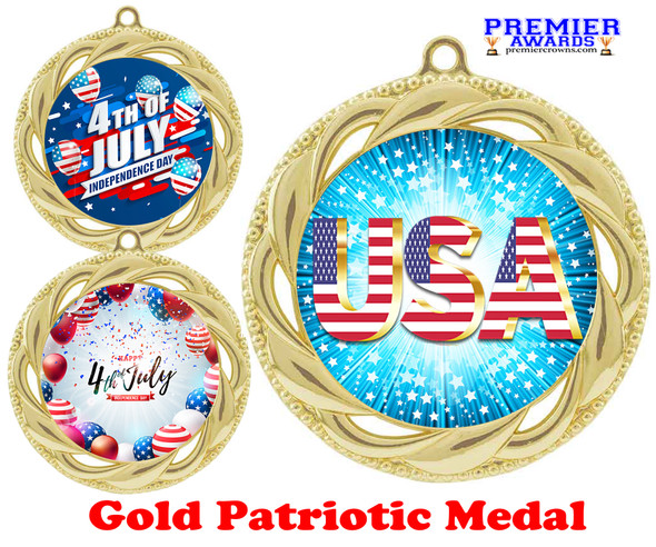 """Patriotic Medal with choice of artwork. Gold  2 3/4"""" medal includes free neck ribbon - 938G"""