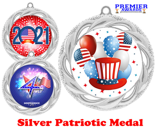 """Patriotic Medal with choice of artwork. Silver  2 3/4"""" medal includes free neck ribbon - 938S"""