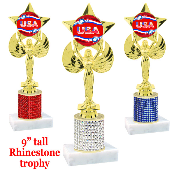 """Rhinestone column trophy with Patriotic insert.  Choice of stone color and base.  9"""" tall - 7517"""