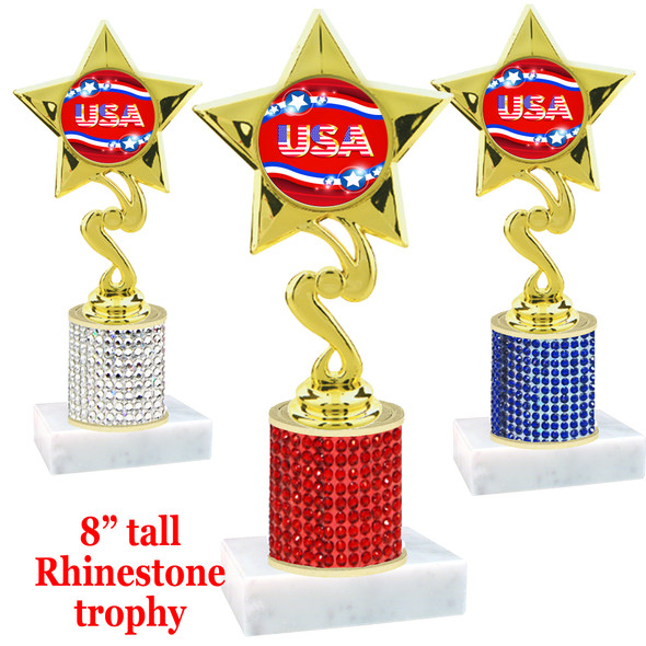 """Rhinestone column trophy with Patriotic insert.  Choice of stone color and base.  8"""" tall - 80106"""