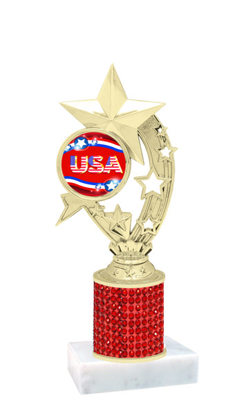 """Rhinestone column trophy with Patriotic insert.  Choice of stone color and base.  8"""" tall - H208"""