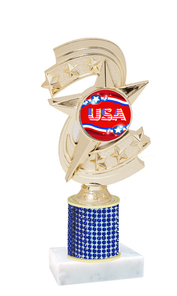 """Rhinestone column trophy with Patriotic insert.  Choice of stone color and base.  8"""" tall - H300"""