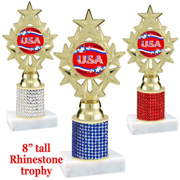 """Rhinestone column trophy with Patriotic insert.  Choice of stone color and base.  8"""" tall - PH75"""