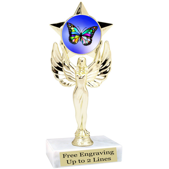 "Butterfly theme trophy with choice of 8 artwork designs.  6"" tall.   (7517"