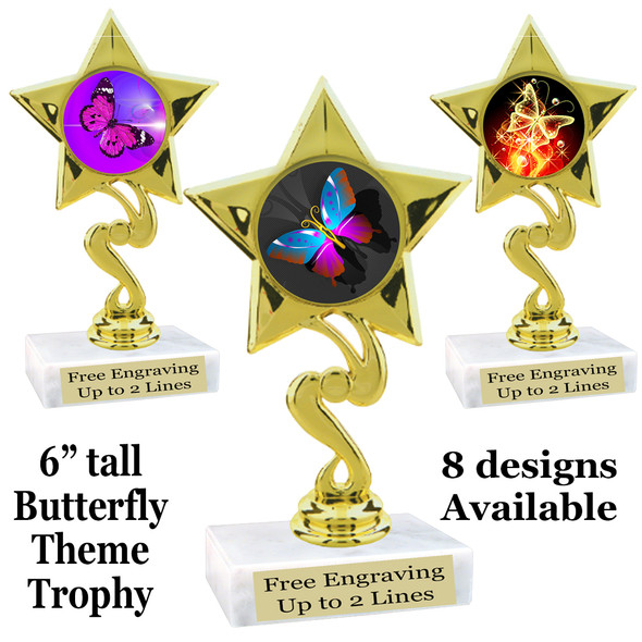 "Butterfly theme trophy with choice of 8 artwork designs.  6"" tall.   (80106"