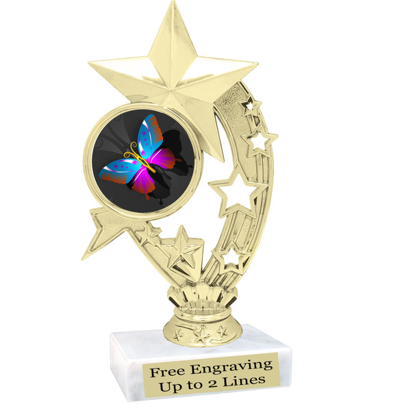"Butterfly theme trophy with choice of 8 artwork designs.  6"" tall.   (h208"