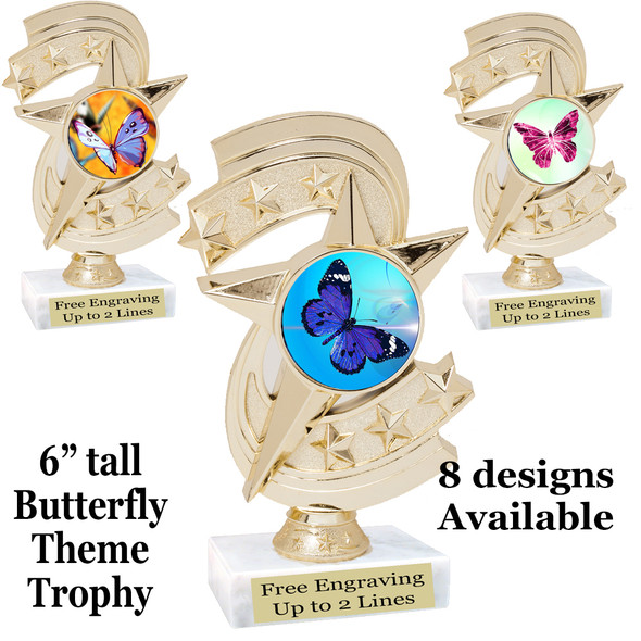 "Butterfly theme trophy with choice of 8 artwork designs.  6"" tall.   (h300"