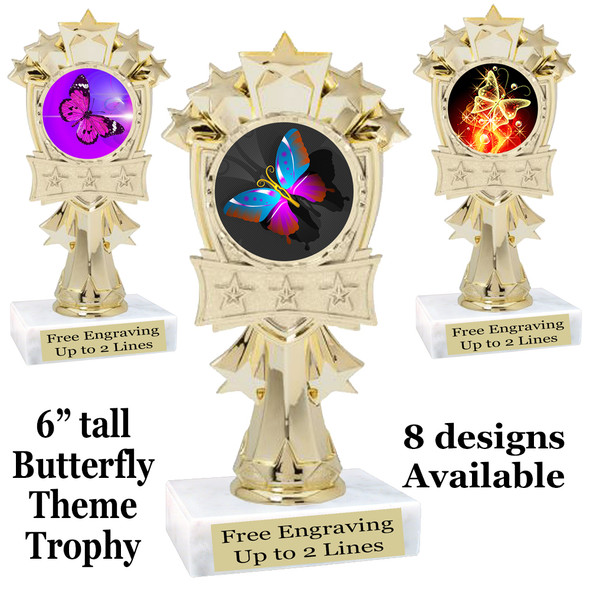 "Butterfly theme trophy with choice of 8 artwork designs.  6"" tall.   (mf3260"