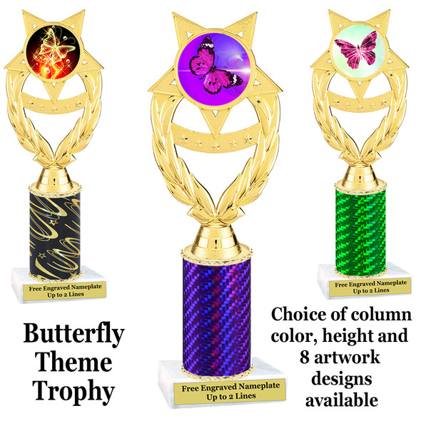 Butterfly theme trophy.  Choice of column color, trophy height and artwork.    (ph97
