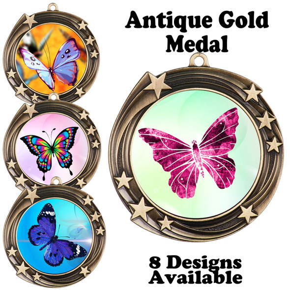 Butterfly theme medal with choice of 8 artwork designs.  930G