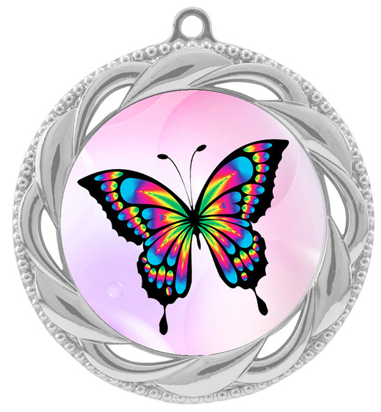 Butterfly theme medal with choice of 8 artwork designs.  938s