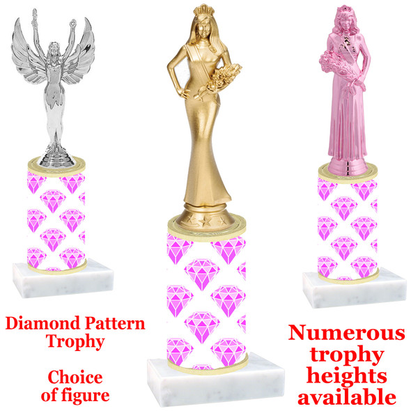 Diamond  pattern  trophy with choice of trophy height and figure - diamond 002