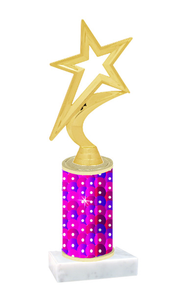 Sequin  pattern  trophy with choice of trophy height and figure - sequin 001