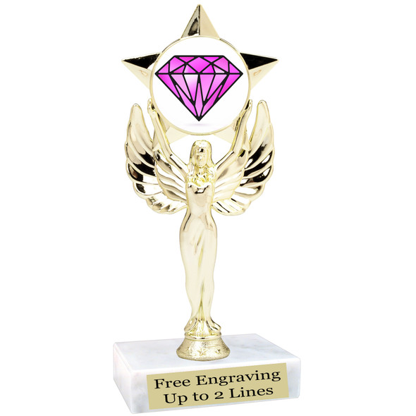 "Diamond  theme trophy.    6"" tall. Choice of art work and base.  (7517"