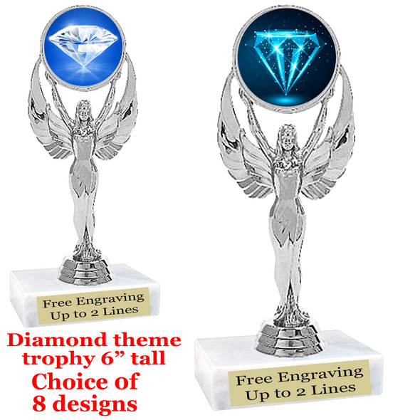 "Diamond  theme trophy.    6"" tall. Choice of art work and base.  (6010S"