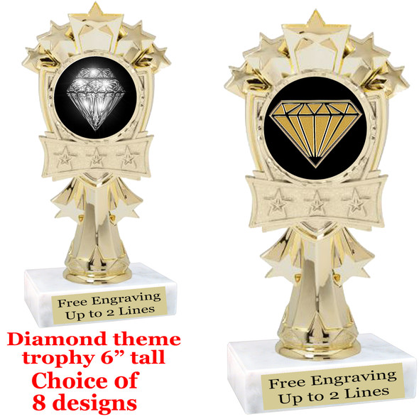 "Diamond  theme trophy.    6"" tall. Choice of art work and base.  (mf3260"