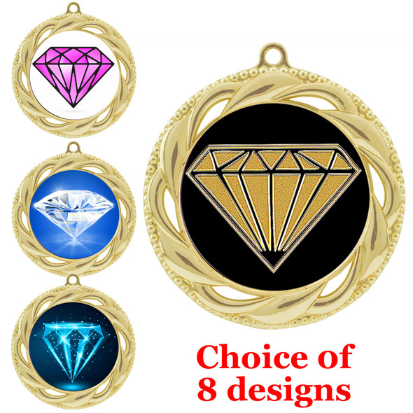 Diamond theme medal.  Gold medal finish.  Choice of 8 designs. Includes free engraving and neck ribbon  (938g