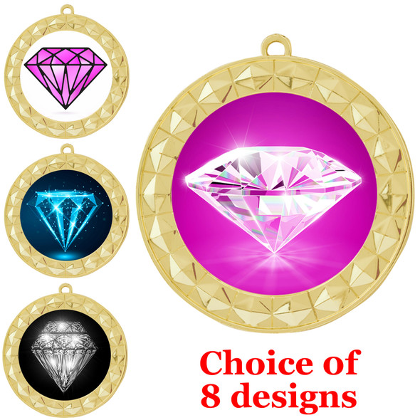 Diamond theme medal.  Gold medal finish.  Choice of 8 designs. Includes free engraving and neck ribbon  (935g