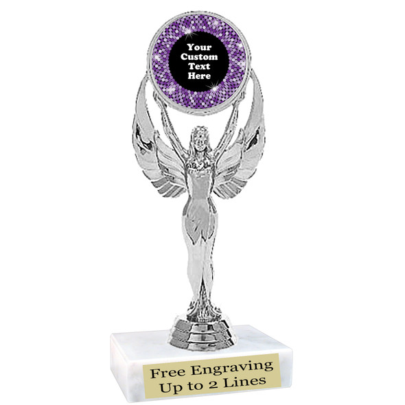 """Custom trophy with sequin design artwork.  Choice of 6 colors.  6"""" tall.  (6010"""