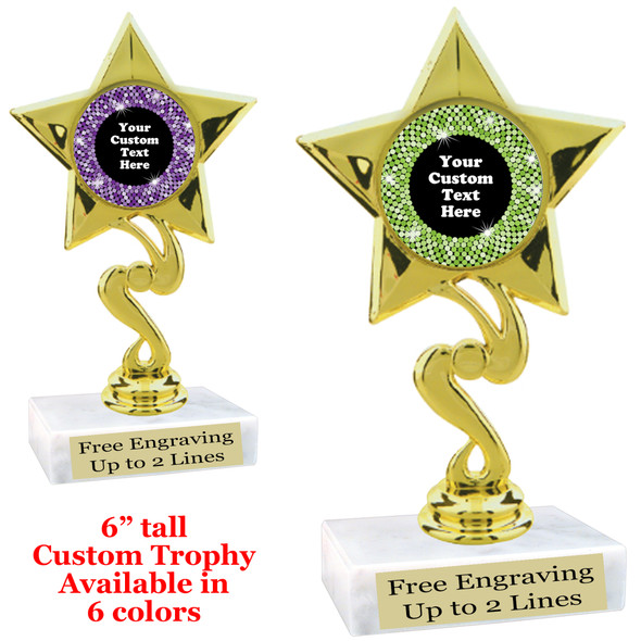 """Custom trophy with sequin design artwork.  Choice of 6 colors.  6"""" tall.  (80106"""