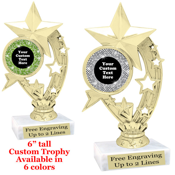 """Custom trophy with sequin design artwork.  Choice of 6 colors.  6"""" tall.  (H208"""