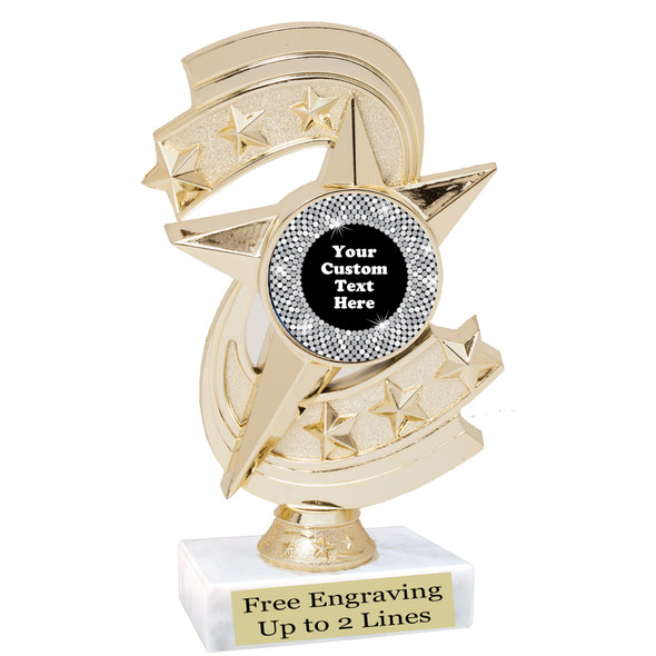 """Custom trophy with sequin design artwork.  Choice of 6 colors.  6"""" tall.  (h300"""